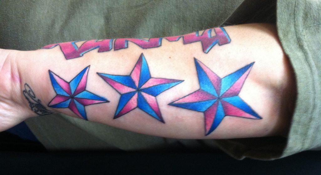 Nautical Star Tattoo on sleeves