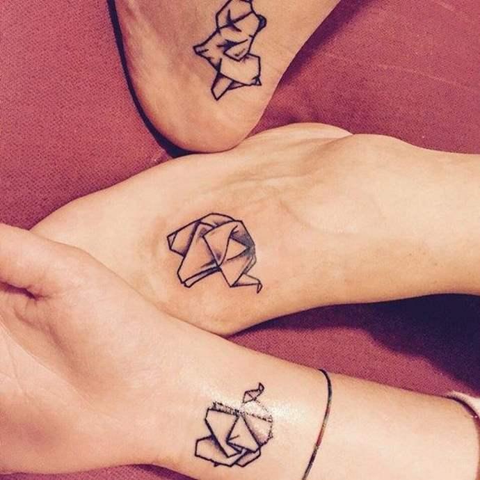 Origami Matching Tattoo