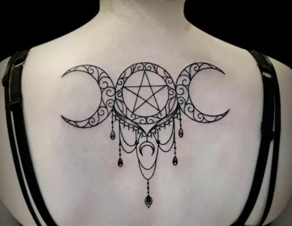 Pentagram Star back Tattoo