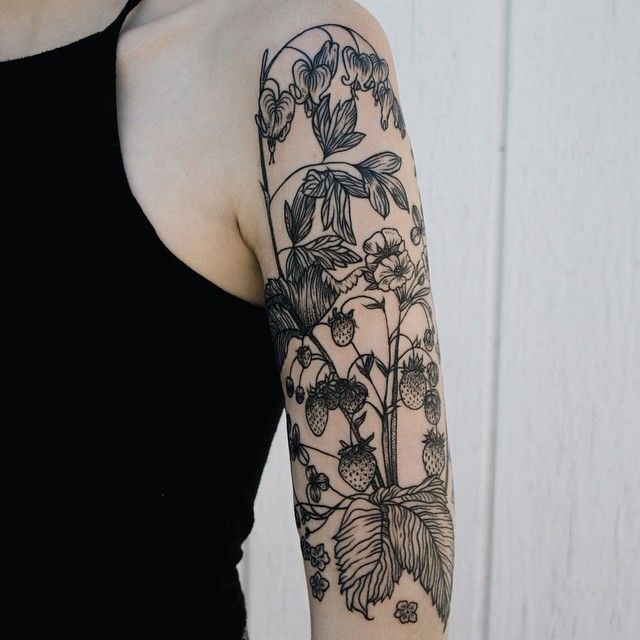Plant Sleeve Tattoo for Girls
