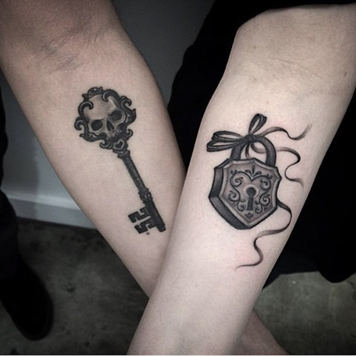 Key and Lock Matching Tattoo
