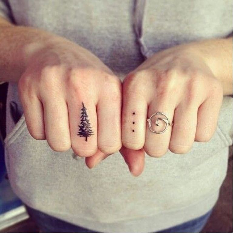 pine tree finger tattoos idea