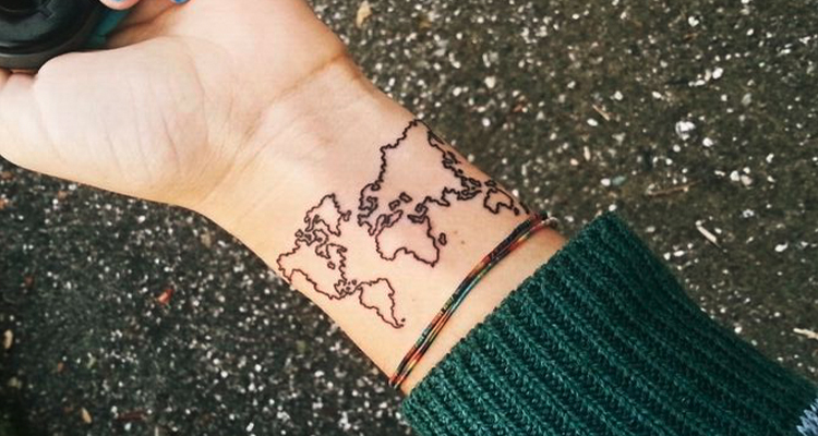 country map on your hand tattoo