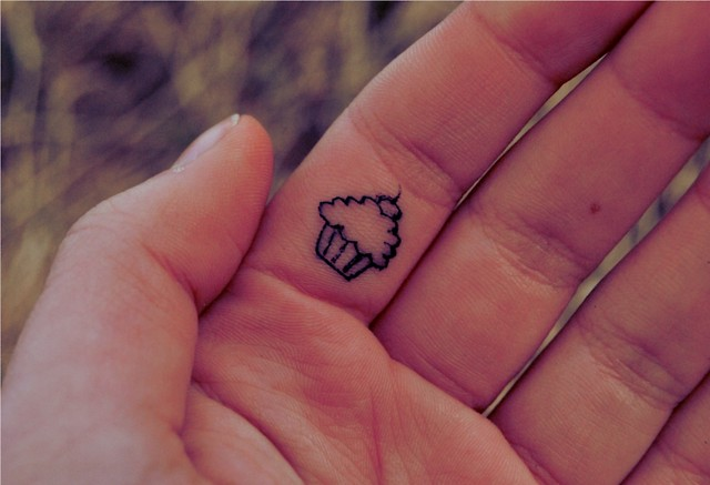Tiny Cupcake Finger tattoo designs
