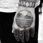 landscape in a circle on your hand