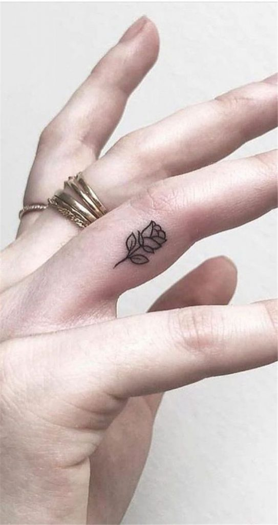 best tiny rose finger tattoo ideas