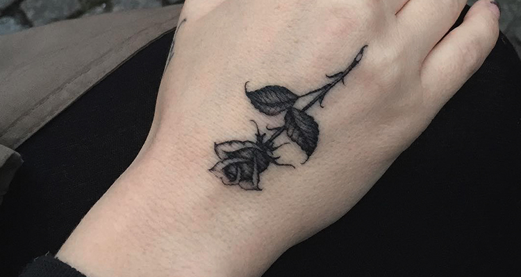 Black rose tattoo Designs on hand