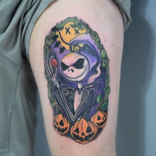 Nightmare Before Christmas Tattoos on leg