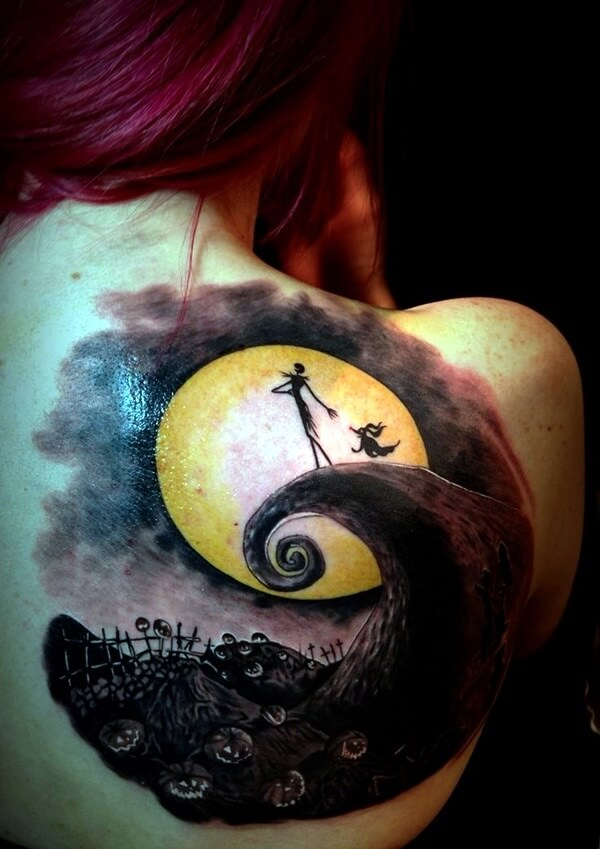 nightmare before christmas tattoos on back