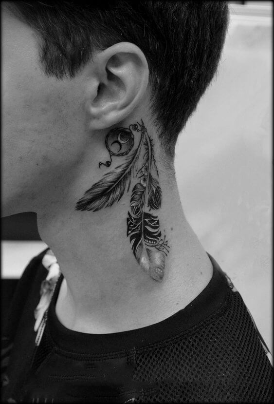 Feather tattoo on nape
