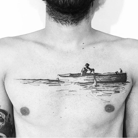 Boat tattoo images on chest