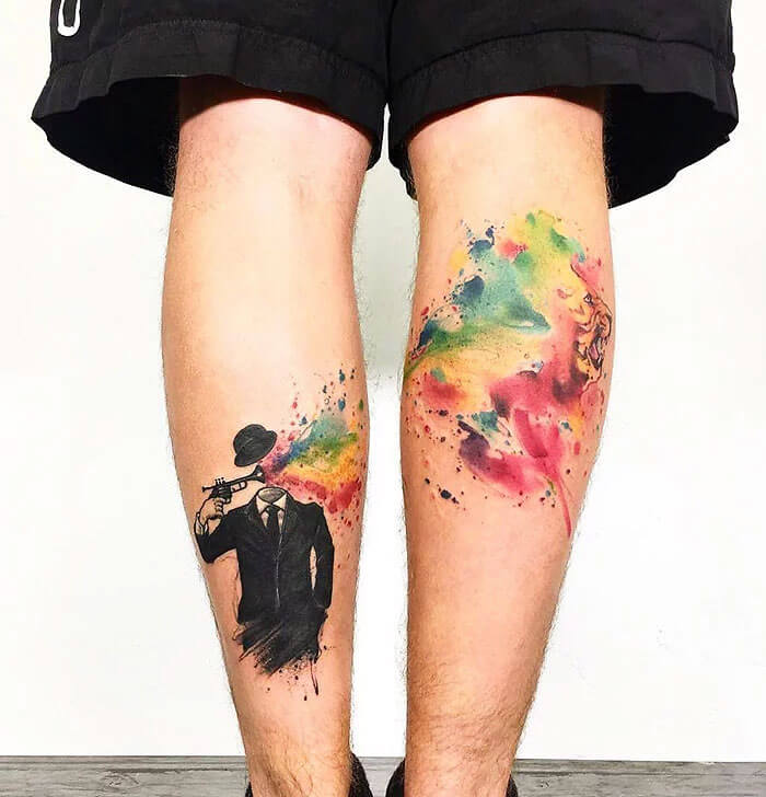 Colored Tattoos on leg