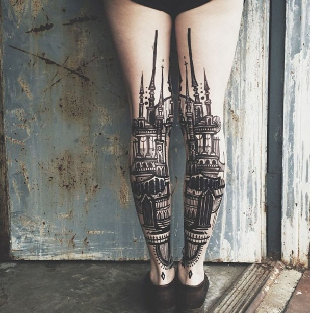Egyptian Architecture Tattoo ink on leg