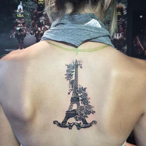 Eiffel Tower Tattoo on back