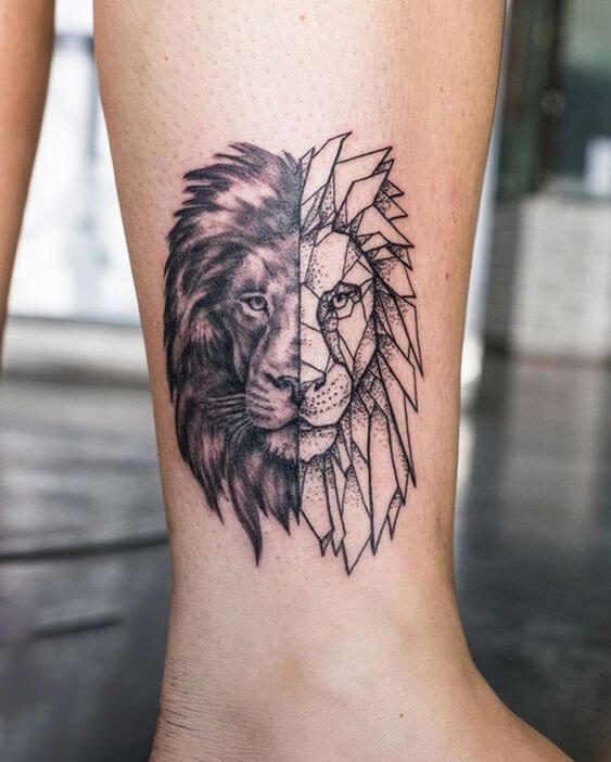 Geometric Lion Tattoo ideas 2020