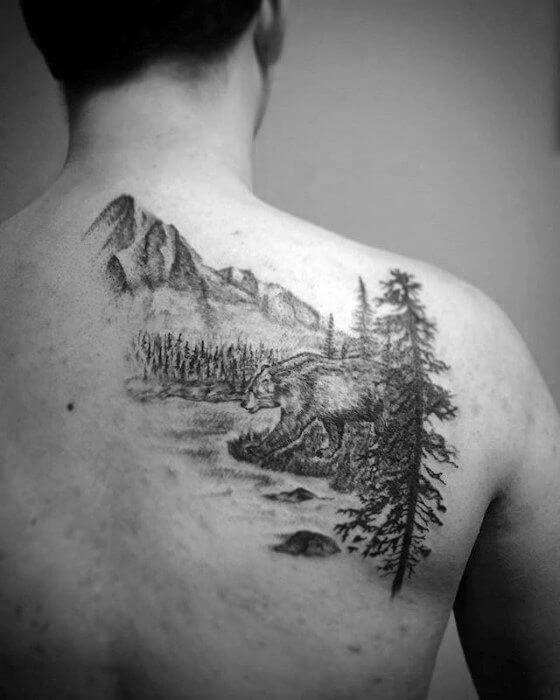 Landscape Tattoo art on shoulder