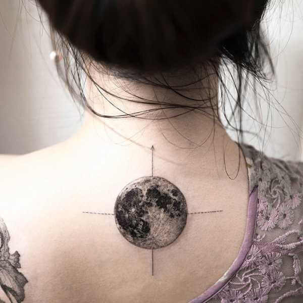 Realistic Moon Tatto ink on back