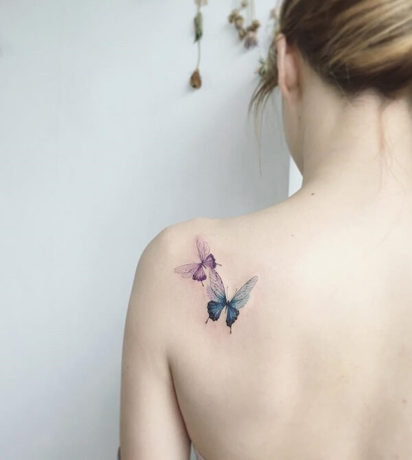 butterfly girl shoulder tattoo