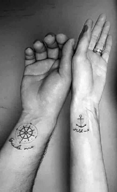 Anchor & Compass Couple Tatto
