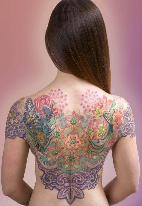 Beautiful Colorful back tattoo image