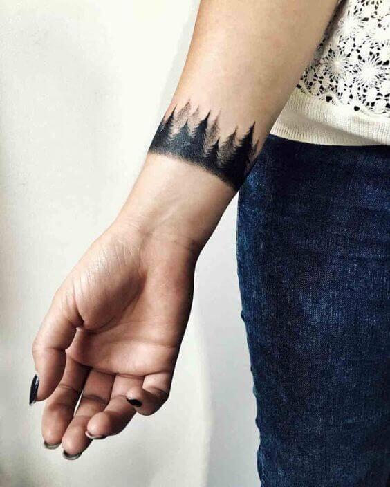 Black Armband Hand Tattoo women