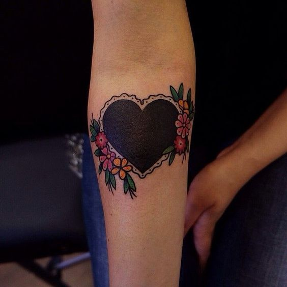 Black Heart Tattoo ideas for couples