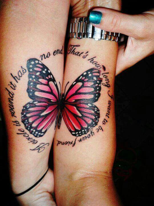 Butterfly Tattoo in a Quote Circle