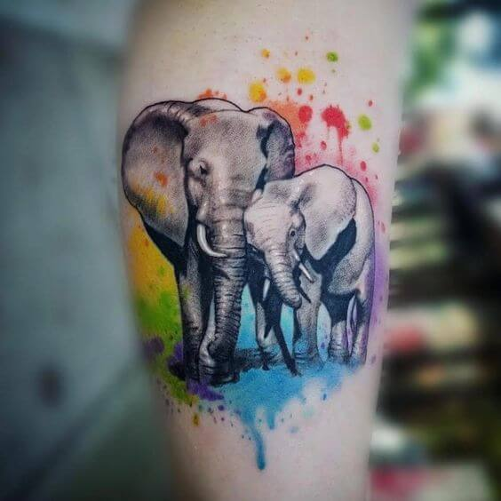 Colorful Elephant tattoo on arm