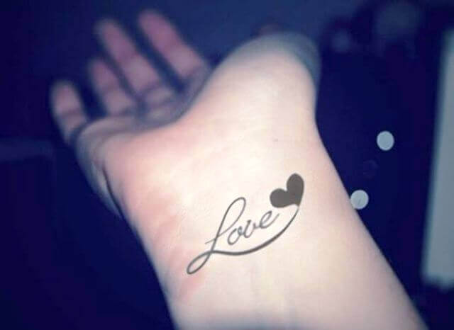 Heart With Love Hand Tattoos for girl