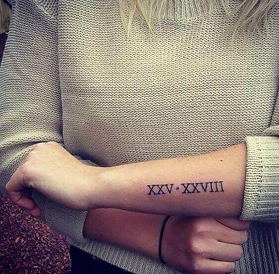 Roman Numeral Tattoo on arm
