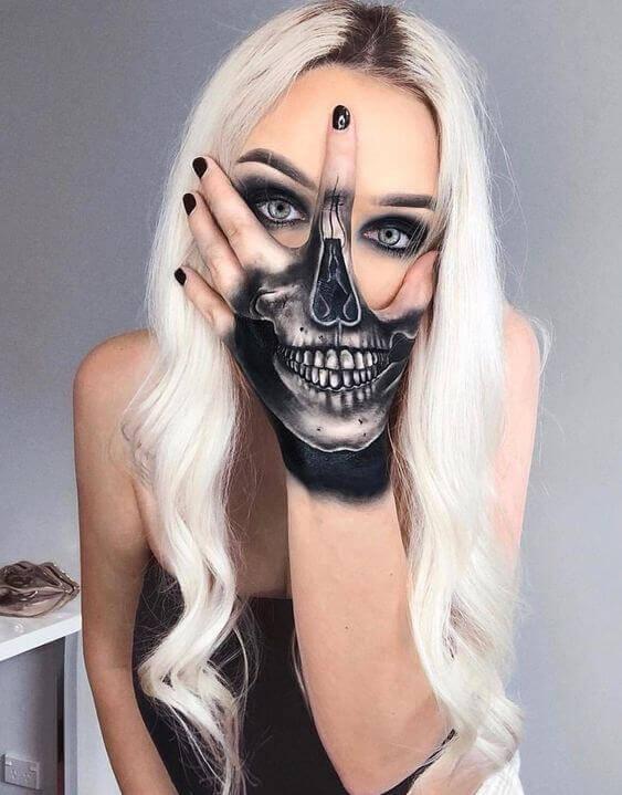 Skull tattoo girl