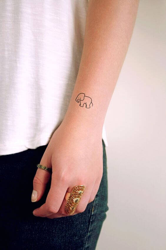 Tiny Elephant Outline tattoo ideas