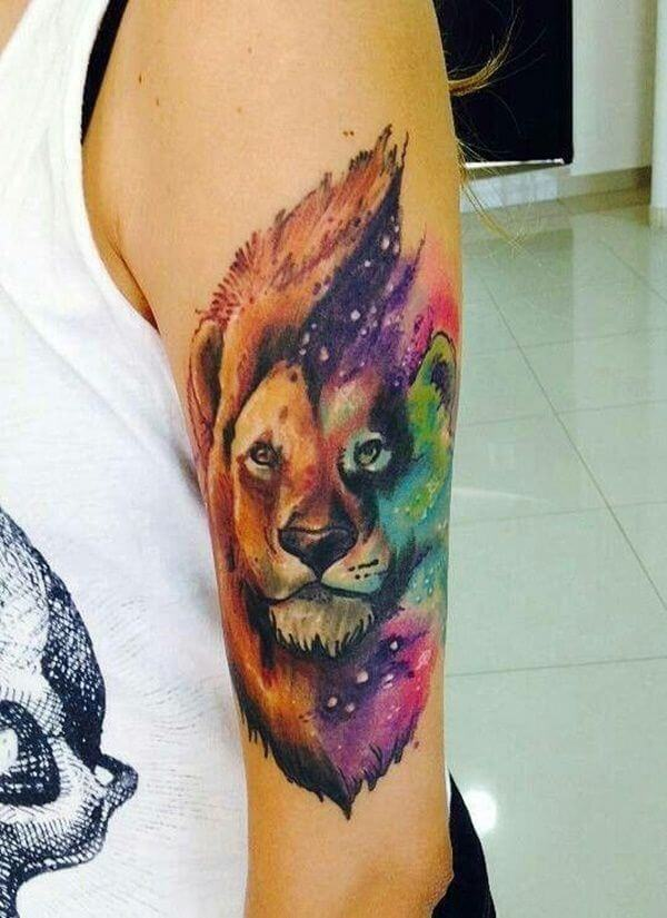 colorful Lion tattoo design