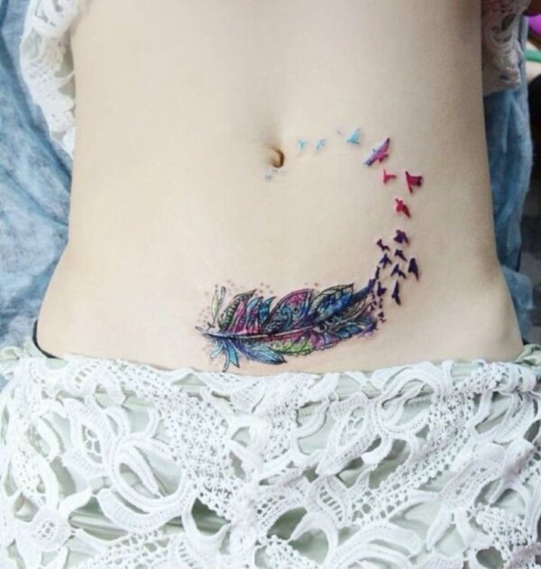 colorful bird Stomach tattoo
