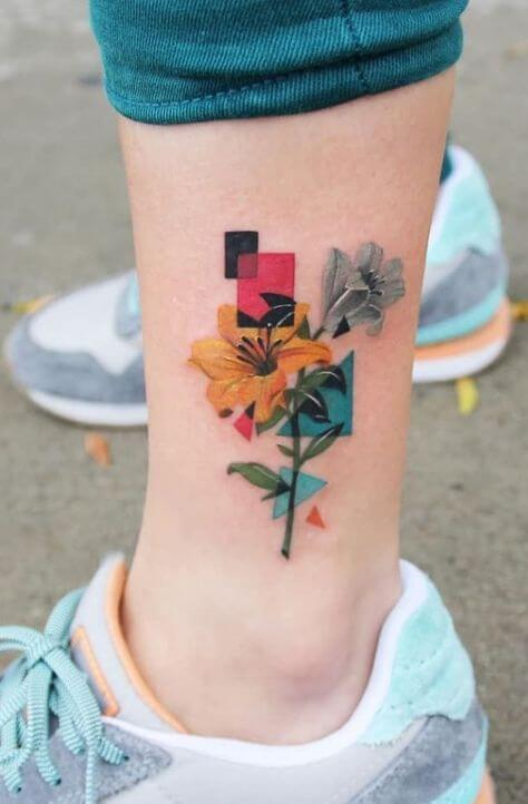 colorful flower tattoo ideas