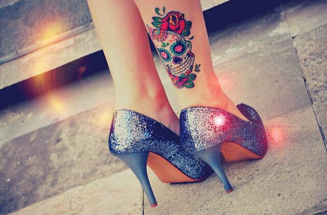 Colorful Ankle tattoo designs