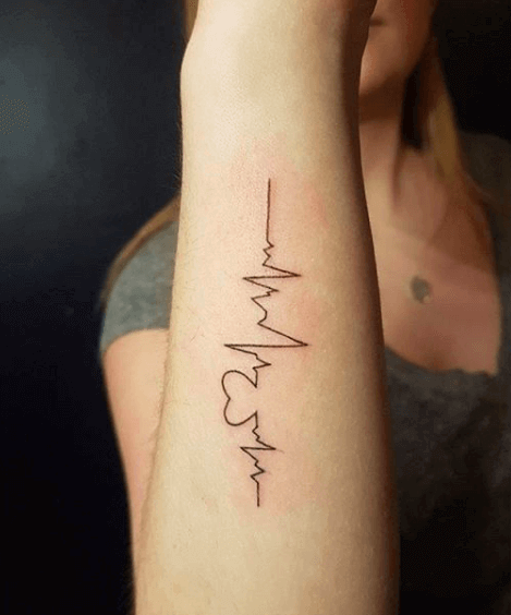 heartbeat hand tattoo girl