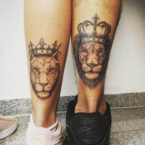 lion and lioness tattoo couple ideas 2