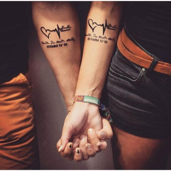 Best couple Hearbeat wrist tattoos