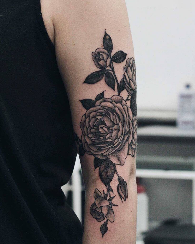 Small Black Rose Tatoo
