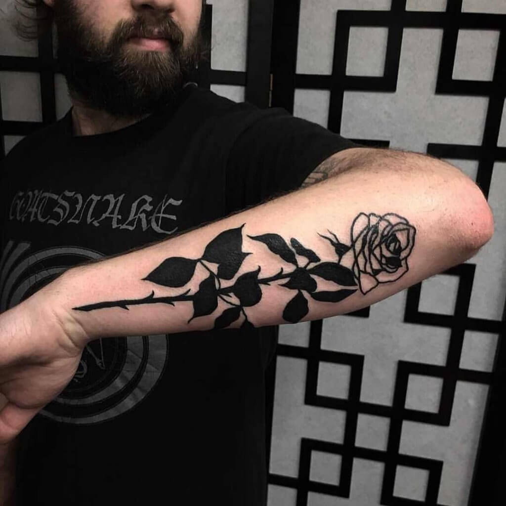 Black Rose Tattoo On Forearm