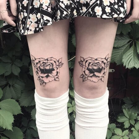 Black Roses On Both knee