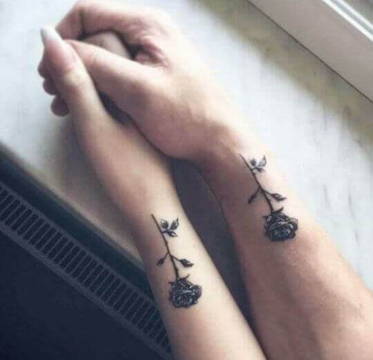 Black rose matching couple tattoos