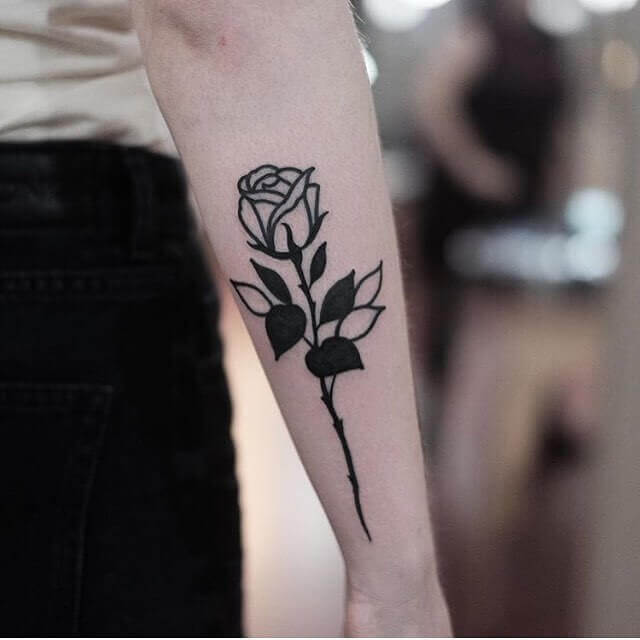 Blackwork Rose Tattoo On The Forearm 2020
