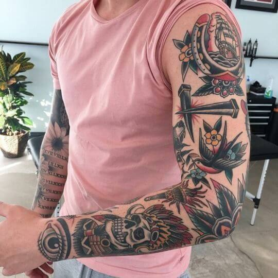 Colorful arm tattoo designs for men