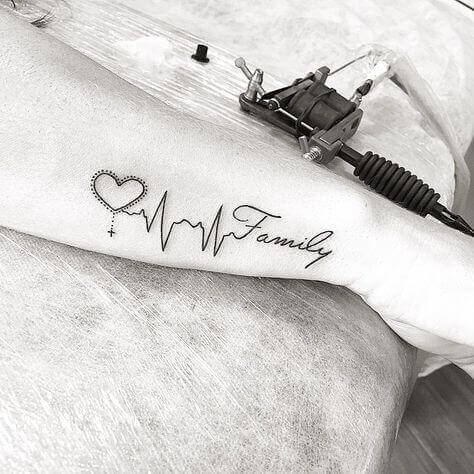 Family heartbeat tattoo ideas