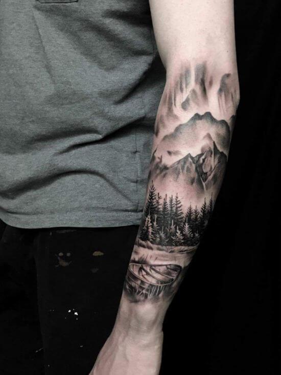 boys arm Landscape tattoo ideas