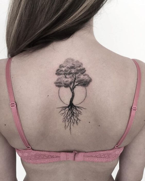 Minimalist Tree tattoo on back