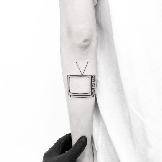 Small TV Tattoo on forearm