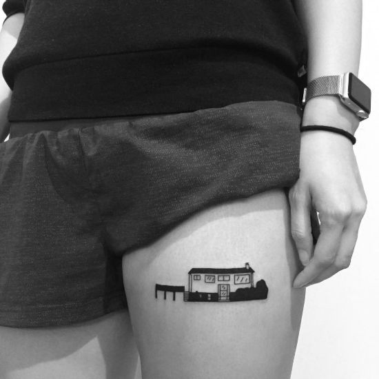 Best Minimalist house tattoo ideas